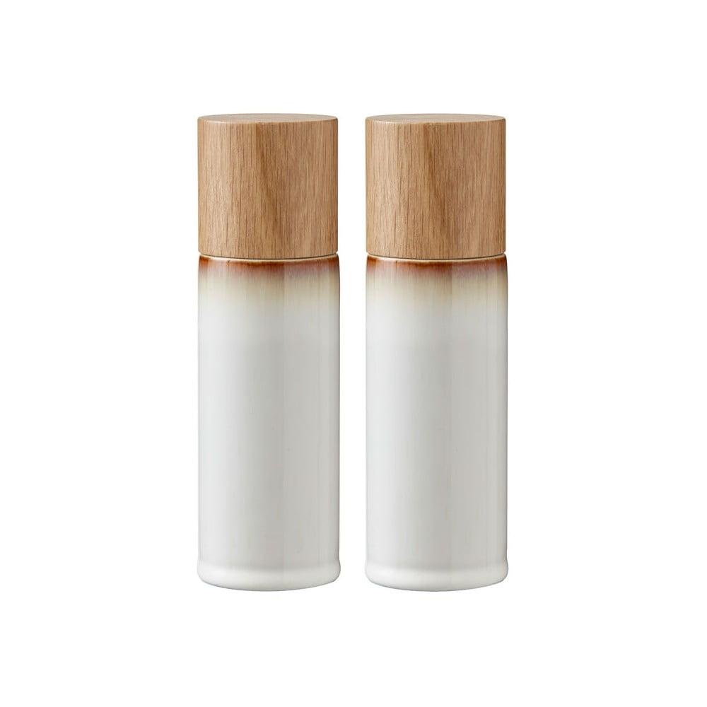 Sada 2 krémovobielych kameninových mlynčekov na soľ a korenie Bitz Basics Cream