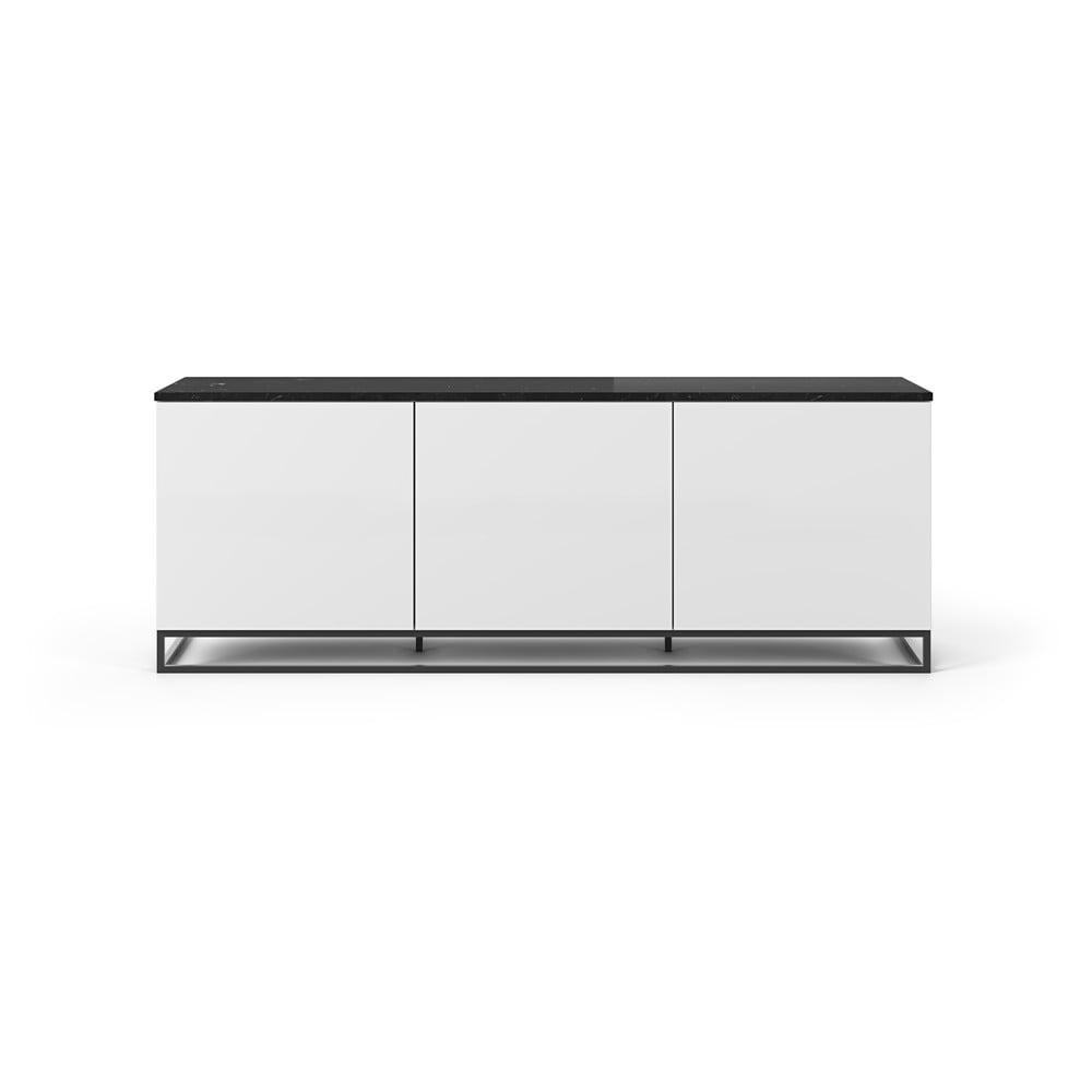Biely televízny stolík s čiernou doskou v mramorovom dekore a čiernymi nohami TemaHome Join, 180 × 65 cm