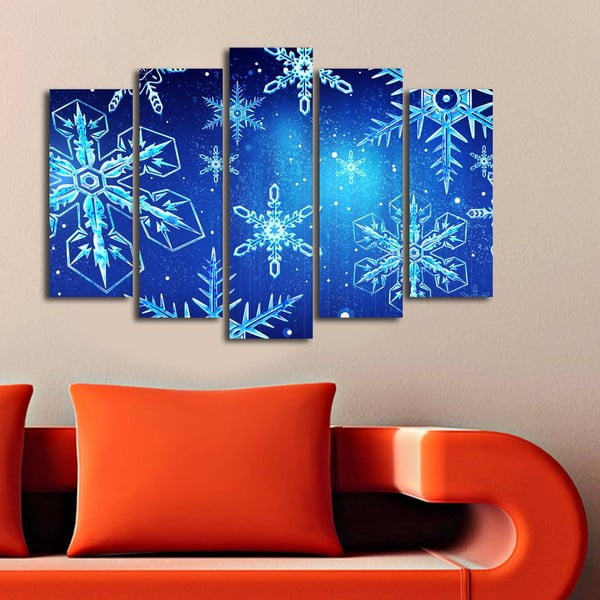 Päťdielny obraz Christmas Frozen, 105x70 cm