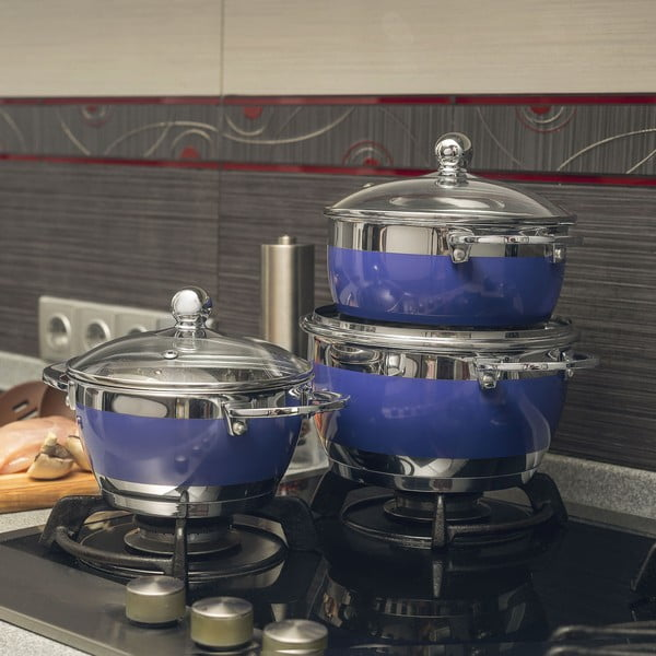 Sada 3 fialových hrncov spokrievkou Krauff Cook, fialová