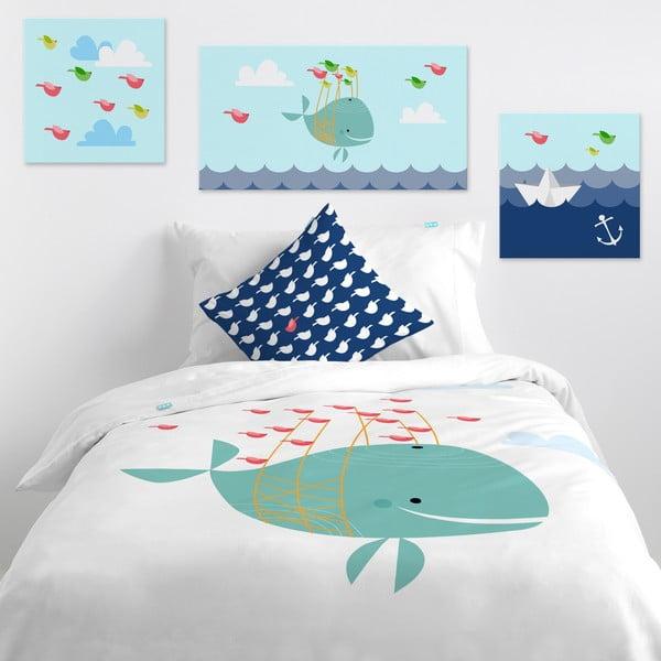 Nástenný obrázok Little Whale Ride, 27x27 cm
