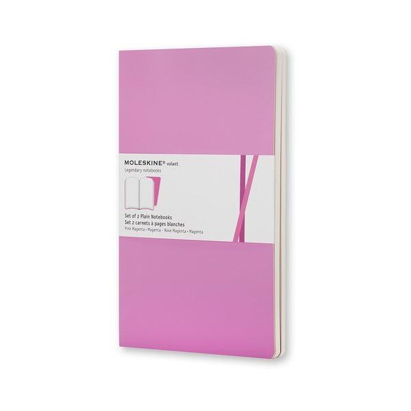 Sada 2 notesov Moleskine Pink, nelinkované 9x14 cm