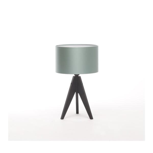 Oceľovomodrá stolová lampa 4room Artist, čierna lakovaná breza, Ø 25 cm