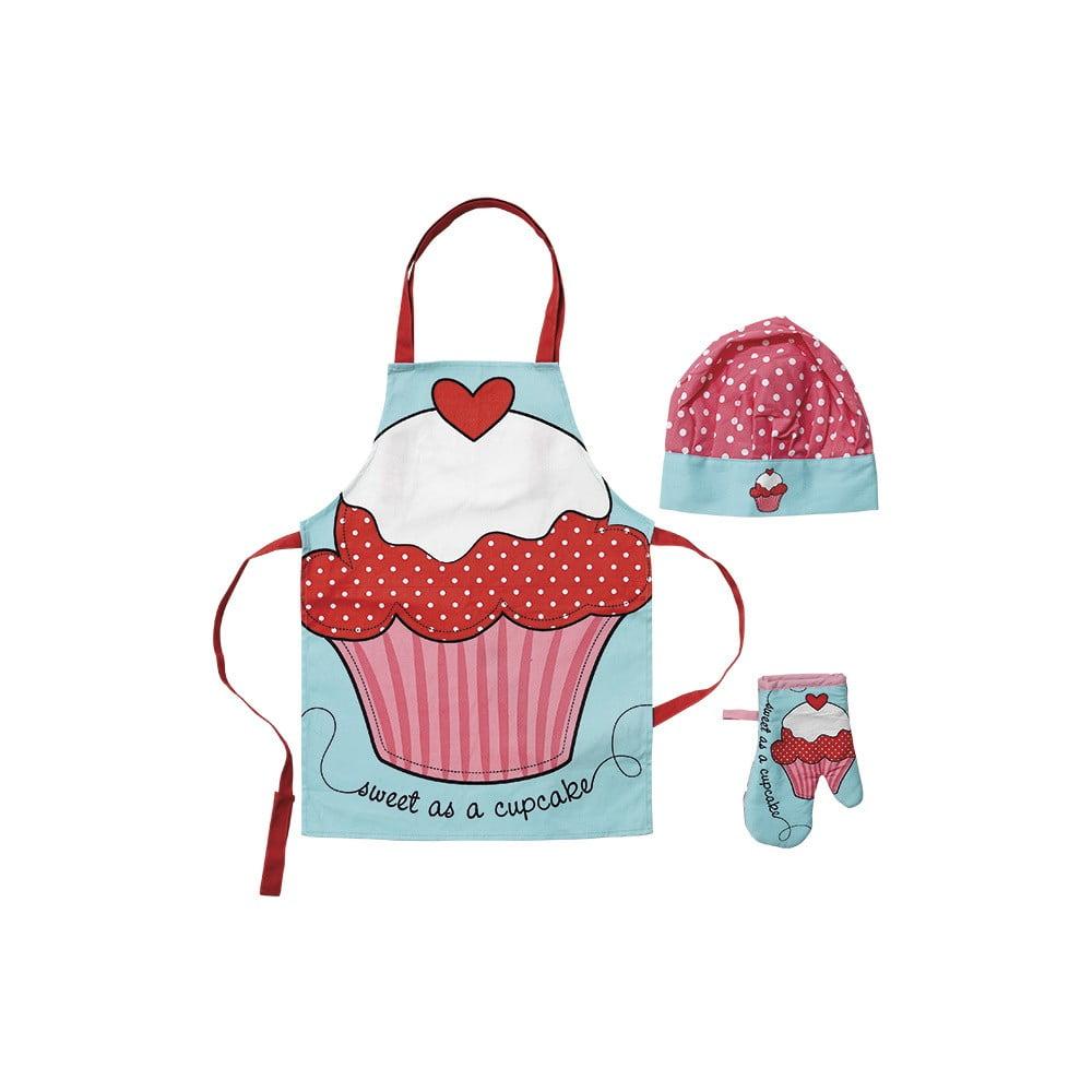 Set detskej zástery, chňapky a čiapky Ladelle Cupcake