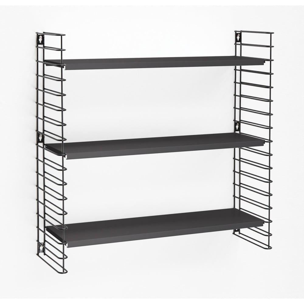 3-poschodový regál s čiernymi policami Metaltex Libro