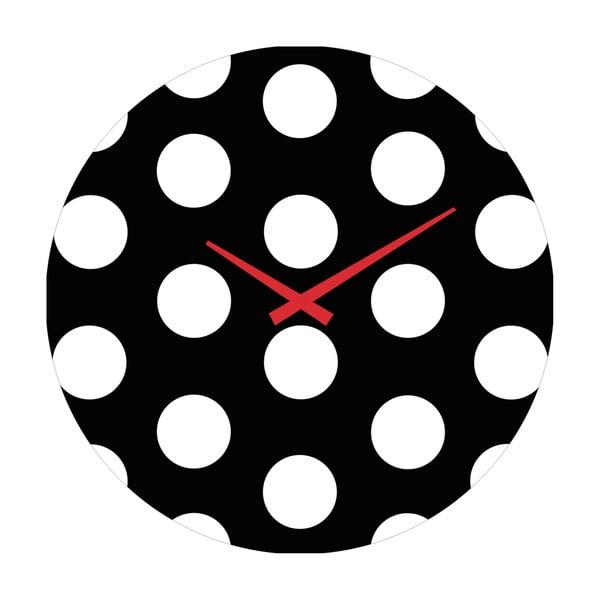 Sklenené hodiny Bodky, 30 cm