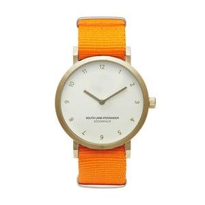 Unisex hodinky s oranžovým remienkom South Lane Stockholm Sodermalm Gold Big