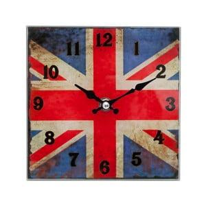 Štťvorcové nástenné hodiny s motívom anglickej vlajky, 15 x 15 cm