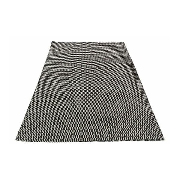 Vlnený koberec Flat, 100x150 cm, čierny