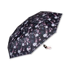 Čierny dáždnik s kvetinovým motívom Tri-Coastal Design Flower