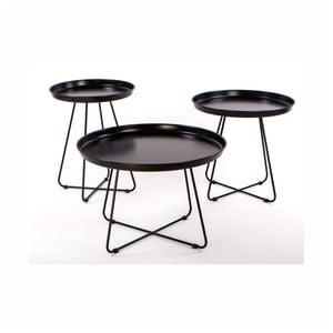 Sada 3 čiernych kovových konferenčných stolíkov Nørdifra Pogorze