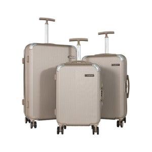 Sada 3 béžových cestovných kufrov na kolieskach Travel World Ebby