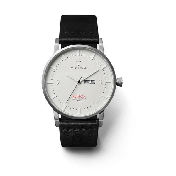 Unisex hodinky s čiernym koženým remienkom Triwa Dawn Klinga