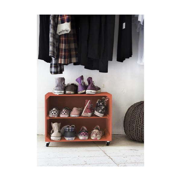 Rustikálna drevená skrinka na topánky Really Nice Things Shoe, korálová