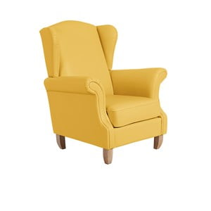 Žlté kreslo ušiak Max Winzer Verita Leather Corn