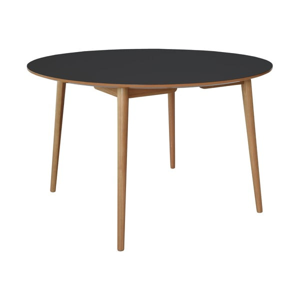 Jedálenský stôl Trim, čierna doska/dubové nohy