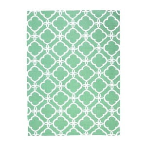 Vlnený koberec Geometry Retro Green & White, 160x230 cm