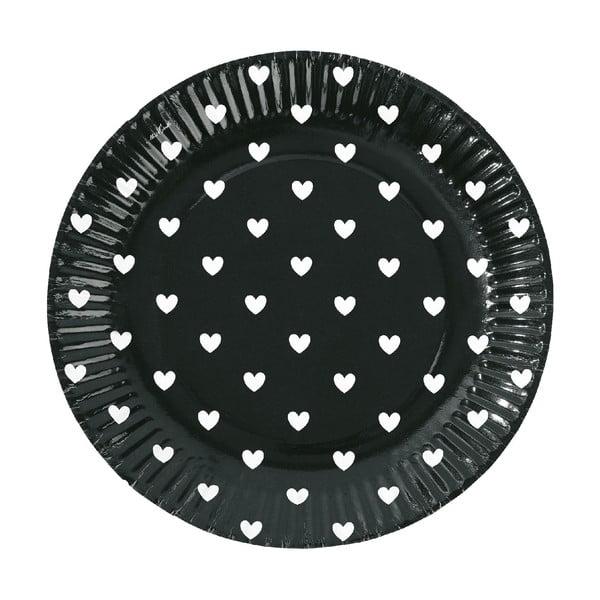 Sada papierových tanierov Black Hearts, 8 ks