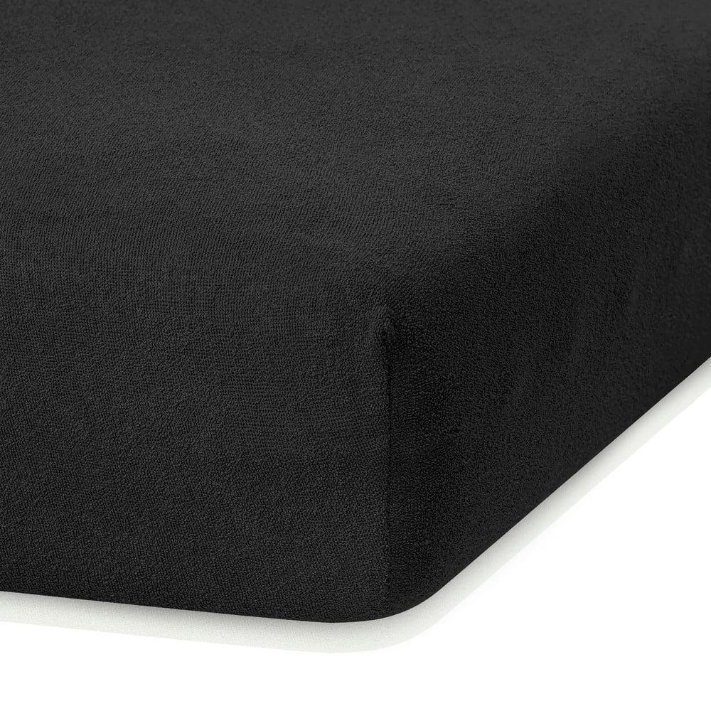 Čierna elastická plachta s vysokým podielom bavlny AmeliaHome Ruby, 200 x 160-180 cm