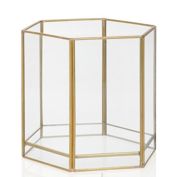Svietnik Gold Hex, výška 13.7 cm