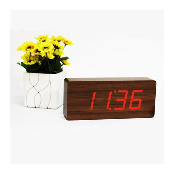 Tmavohnedý budík s červeným LED displejom Gingko Slab Click Clock