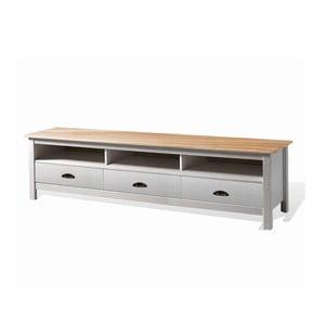 Biely TV stolík z borovicového dreva so 3 zásuvkami SOB Irelia