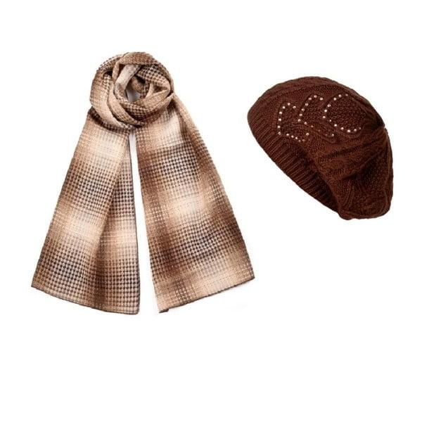 Hnedá čiapka so šálom Lavaii Elegant
