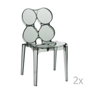 Sada 2 sivých transparentných stoličiek J-Line Classic