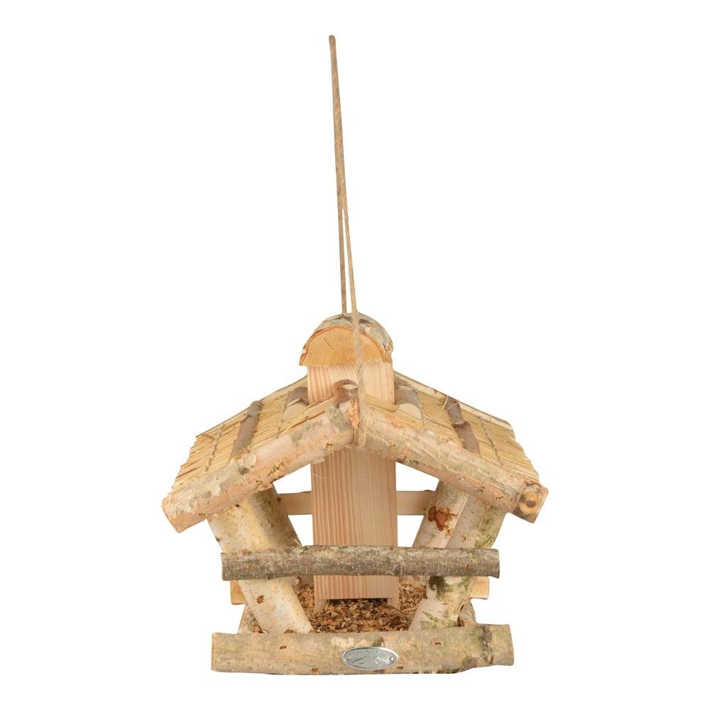 Drevené závesné kŕmidlo pre vtáky so zásobníkom Esschert Design, výška 27,5 cm