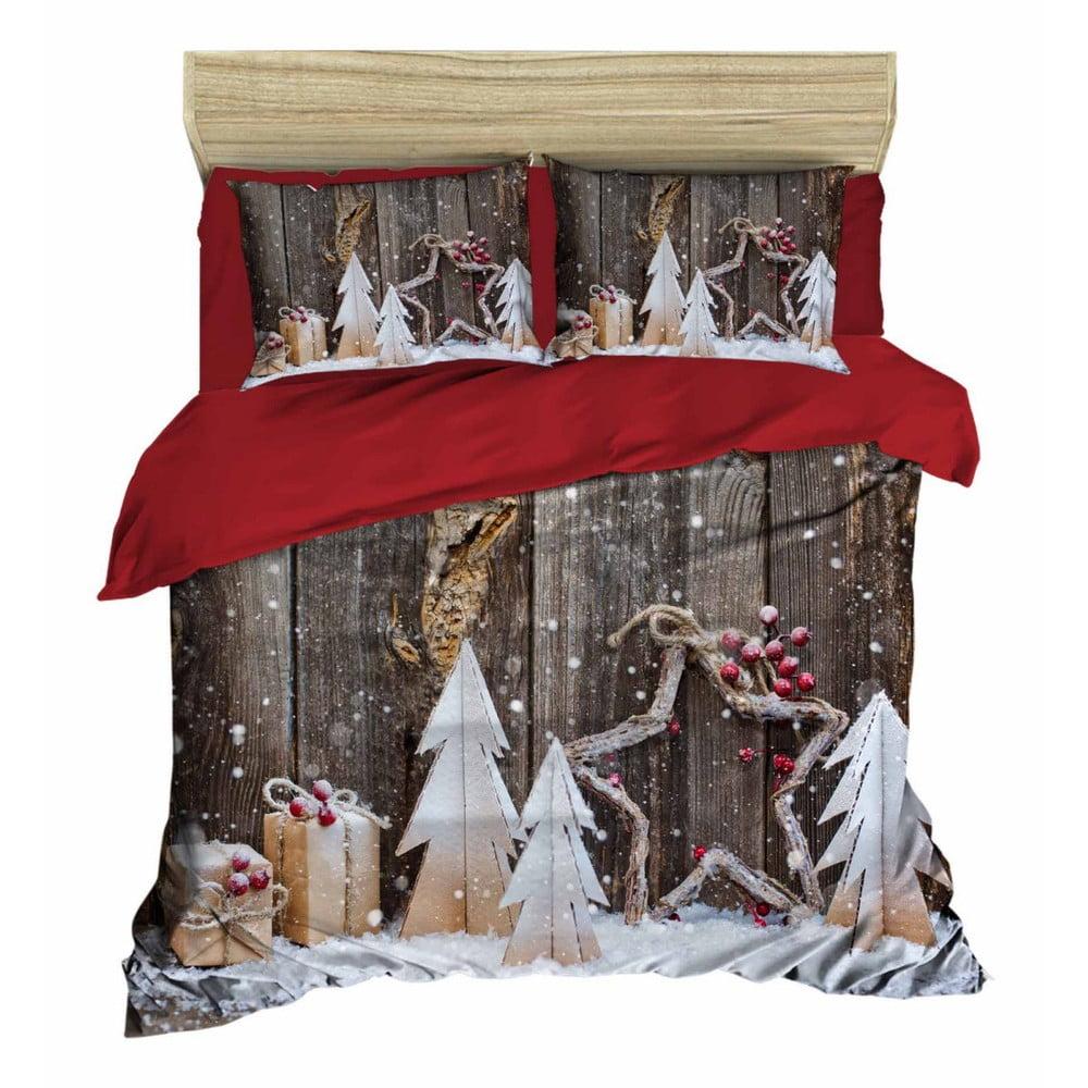 Vianočné obliečky na dvojlôžko s plachtou Lorenzo, 160×220 cm