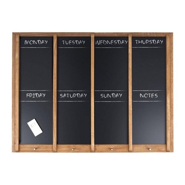 Nástenná tabuľa s týždenným plánovačom PT LIVING Wood, 80×60 cm