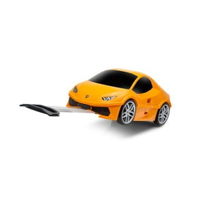 Oranžový detský kufor na kolieskach v tvare auta Packenger