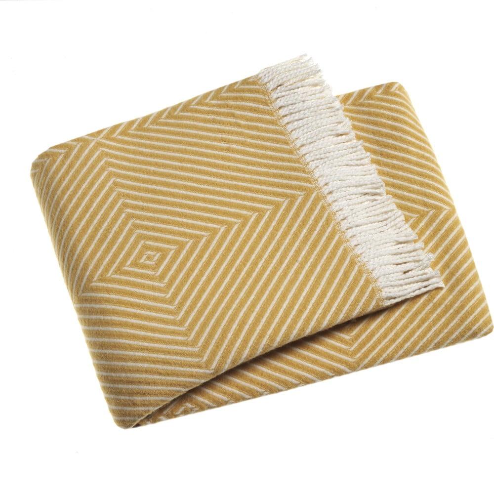 Žltý pléd s podielom bavlny Euromant Tebas, 140 × 180 cm