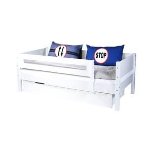 Biela detská posteľ s bezpečnostnými postrannými peľasťami a zásuvkou Manis-h Max, 90 x 200 cm