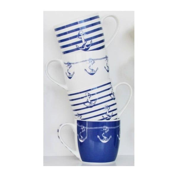 Sada 4 porcelánových hrnčekov Ahoy, 350 ml