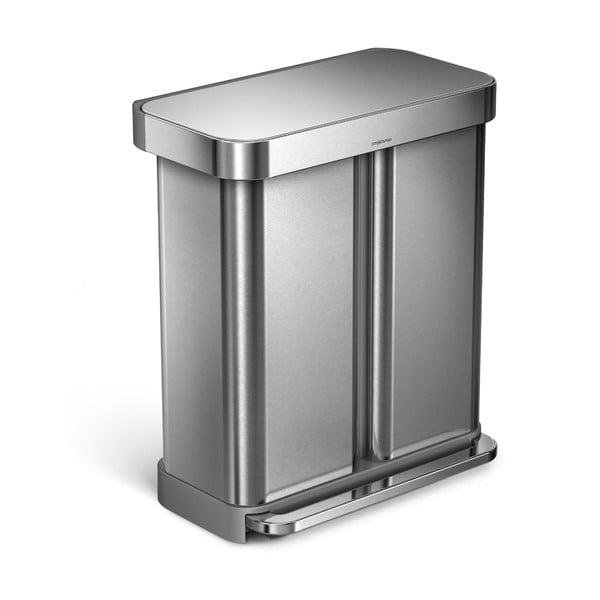 Strieborný odpadkový kôš simplehuman, 58 l