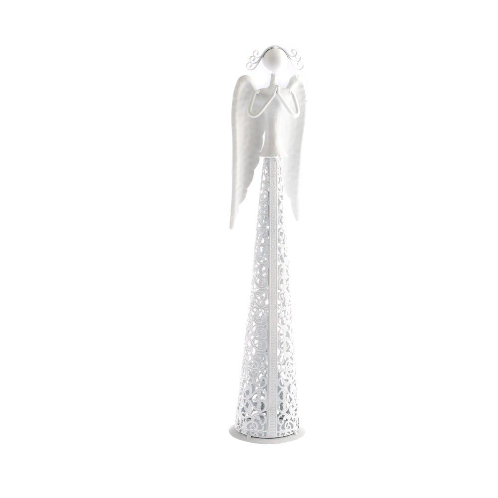 Biela kovová dekorácia v tvare anjela Dakls Angel, výška 8,5 cm