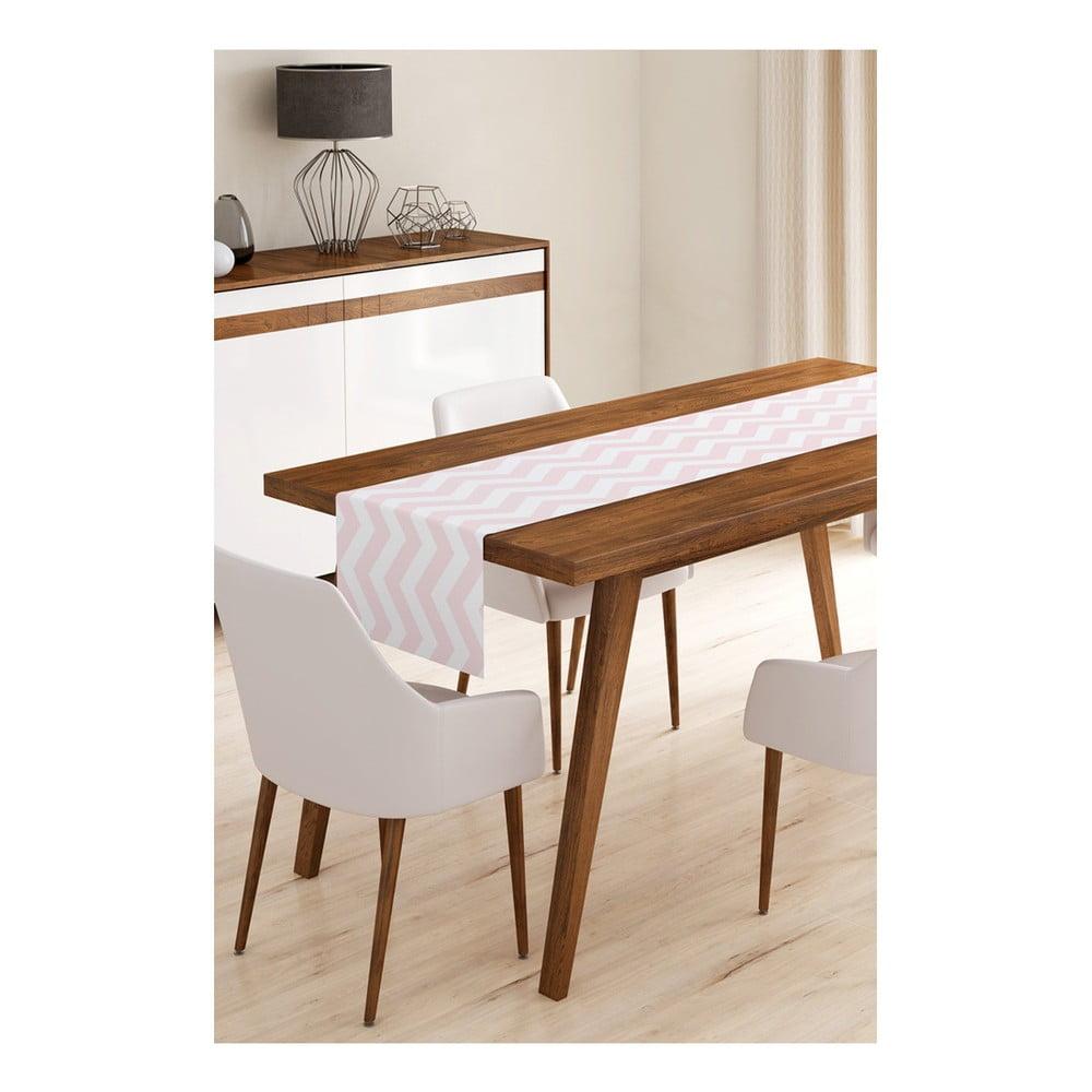 Behúň na stôl z mikrovlákna Minimalist Cushion Covers Pink Stripes, 45 × 145 cm