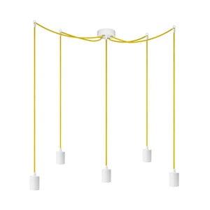 Biele závesné svietidlo s 5 žltými káblami a bielymi objímkami Bulb Attack Cero
