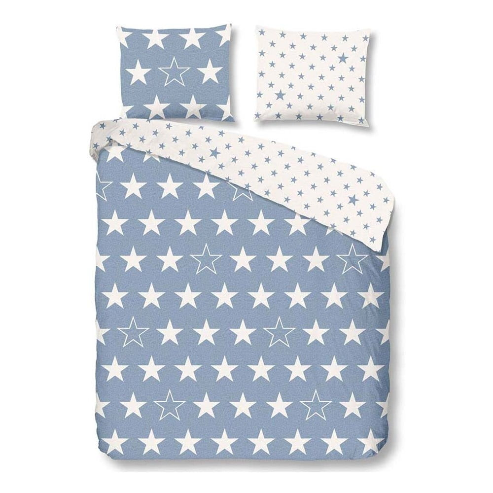 Svetlomodré flanelové obliečky na dvojlôžko Müller Textiel Antracit Stars, 200 x 200 cm