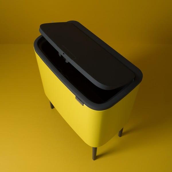 Žltý odpadkový kôš s 3 priehradkami Brabantia BO Touch Bin, 3x 11 l