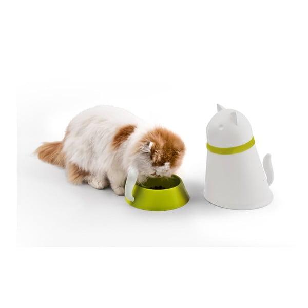 Miska so zásobníkom pre mačky QUALY Kitt, biela