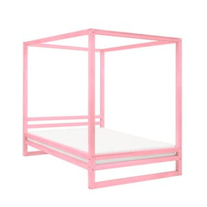 Ružová drevená dvojlôžková posteľ Benlemi Baldee, 200 × 180 cm