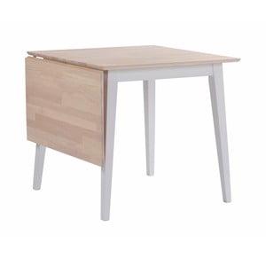 Matne lakovaný sklápací dubový jedálenský stôl s bielymi nohami Folke Mimi, dĺžka 80-125 cm