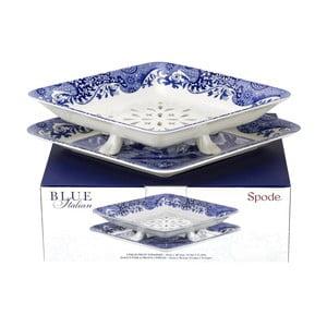 Bielo-modré porcelánové cedidlo s miskou Spode Blue Italian