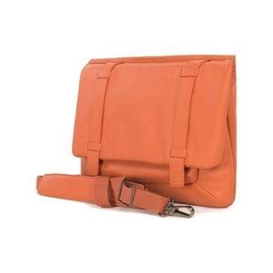 Oranžová aktovka s ramenným popruhom z talianskej kože Tucano Tema