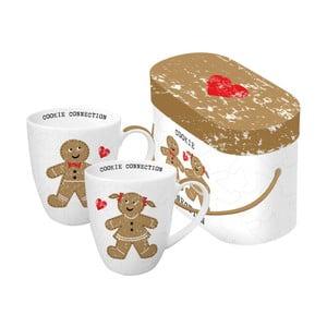 Sada 2 porcelánových hrnčekov s vianočným motívom v darčekovom balení PPD Cookie Connection, 350 ml