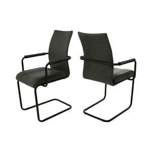 Antracitově sivá jedálenská stolička s područkou Canett Clipper