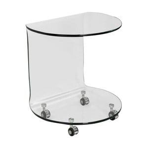Sklenený odkladací stolík na kolieskach Esidra Simple