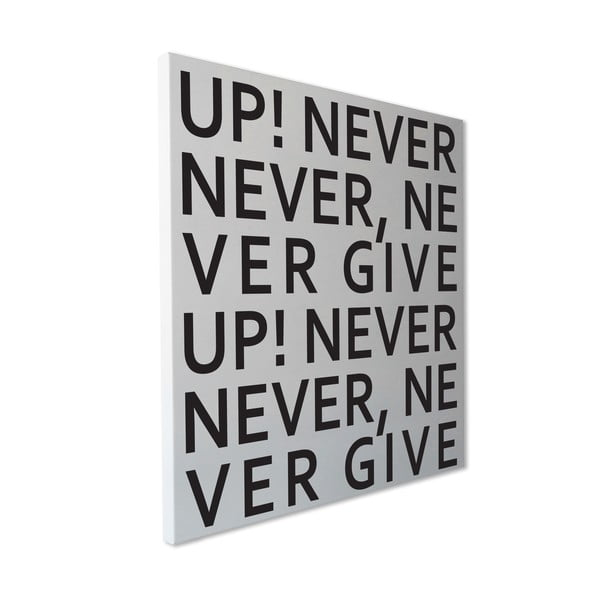 Magnetická tabuľa dESIGNoBJECT.it Never Give Up, 50 x 50 cm